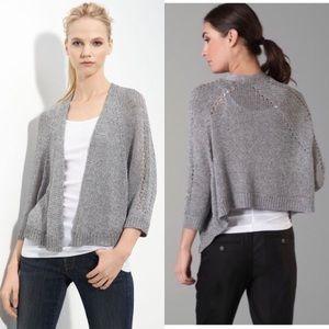 •Vince• Shimmering Knit Shrug Cardigan Silver Gray